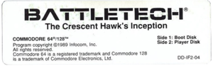 The label of a BattleTech disk